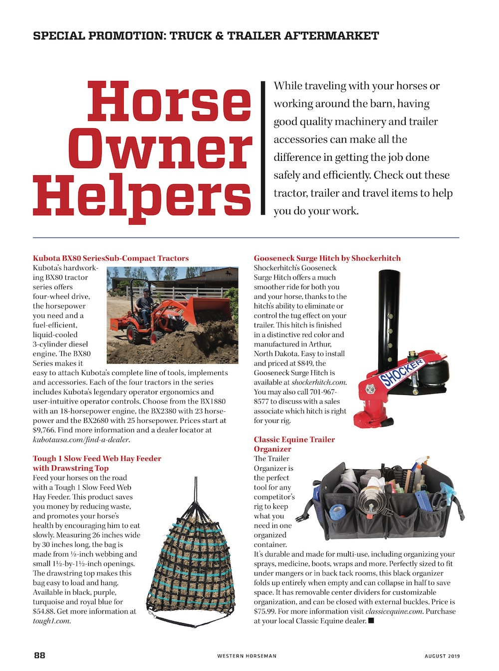 special promotion section in Western Horseman on tractor, trailer and travel items