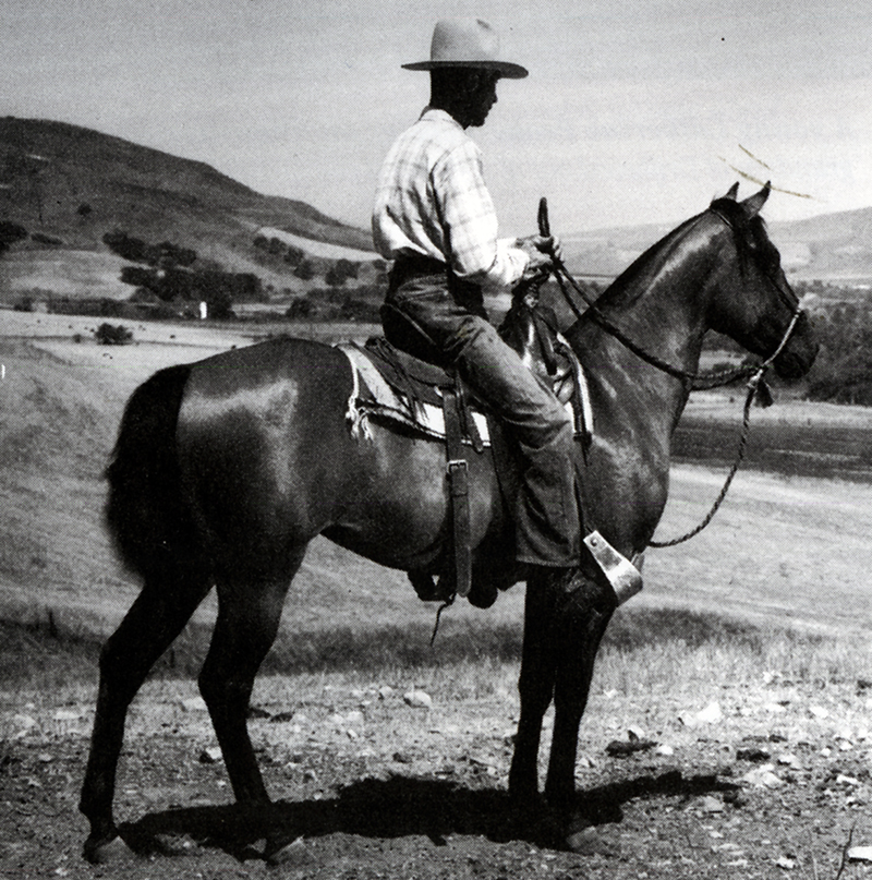 Rancho Jabali manager, Jim Carr on Driftwood, 1940s