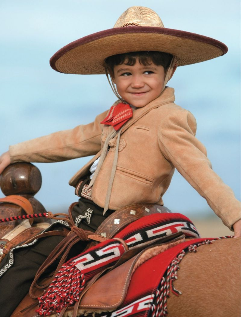 Nicolas Diaz three years old riding a horse