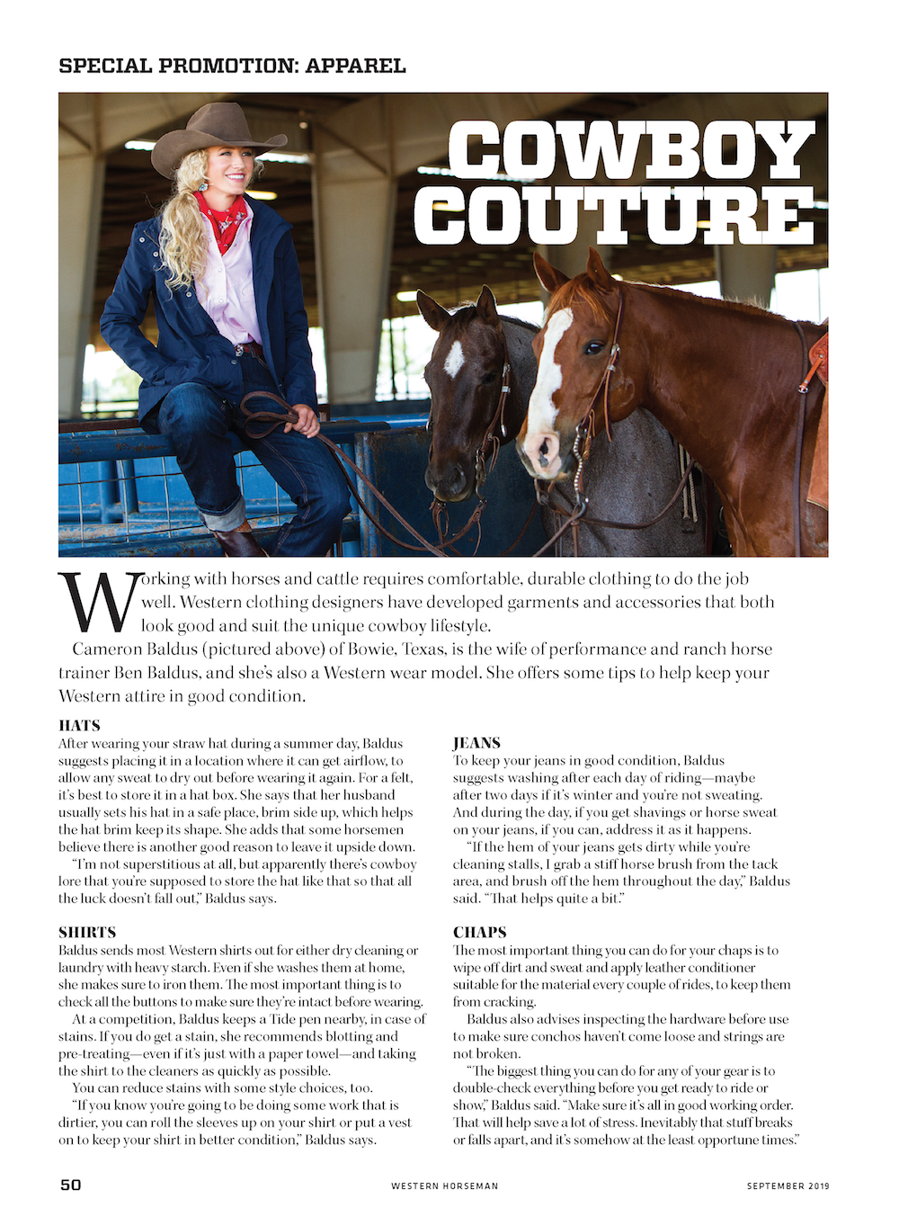 Western Horseman Magazine September 2019 issue Special apparel promotion section