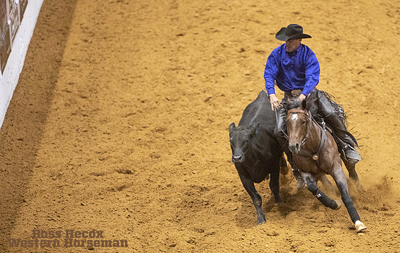 Reined cow horse trainer Lance Johnston and Here Comes the Boon won the 2019 Snaffle Bit Futurity.