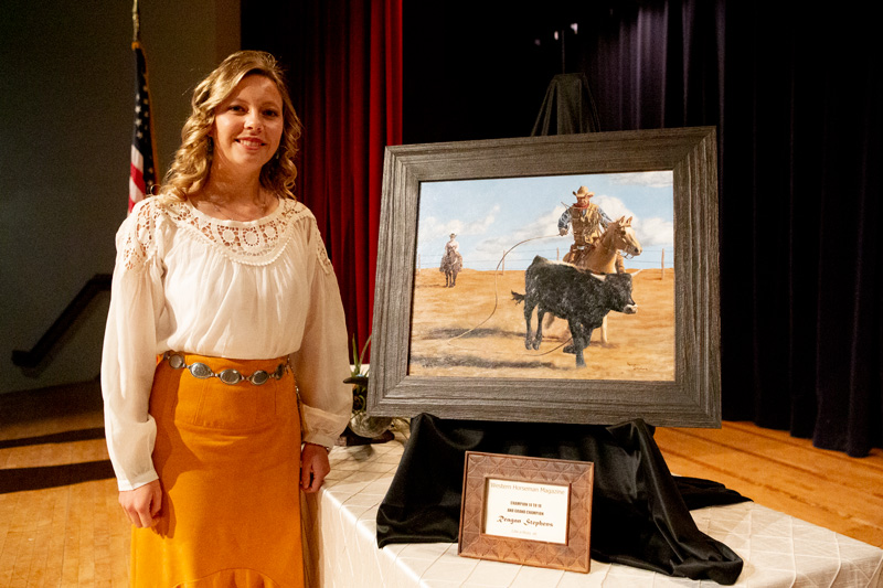 Reagan Stephens won the Western Horseman and Cowboy Artists of America Youth Art Contest