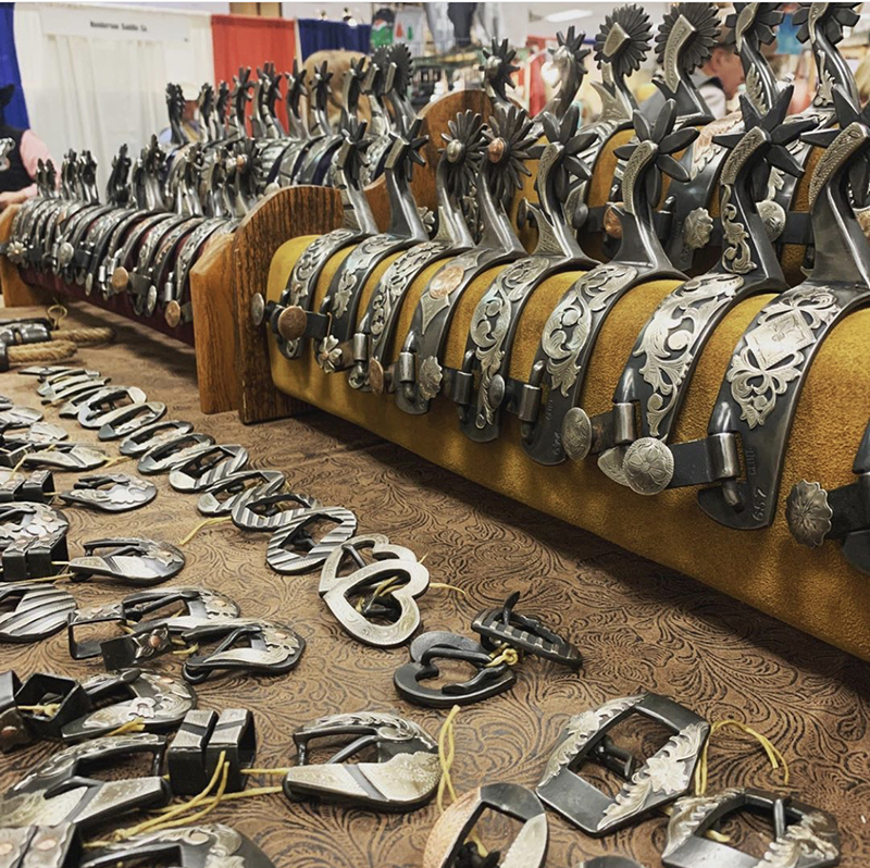 Spurs, buckles and other tack was for sale at the WRCA trade show.