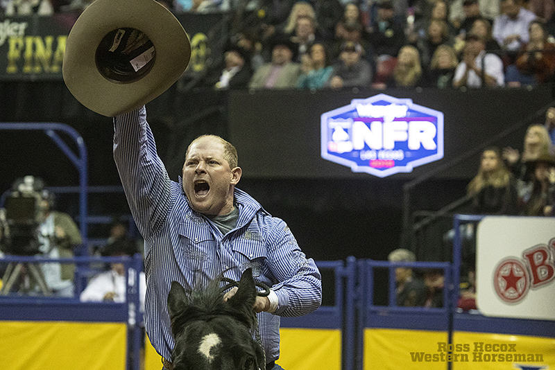 Steer wrestler Hunter Cure won round three at the NFR