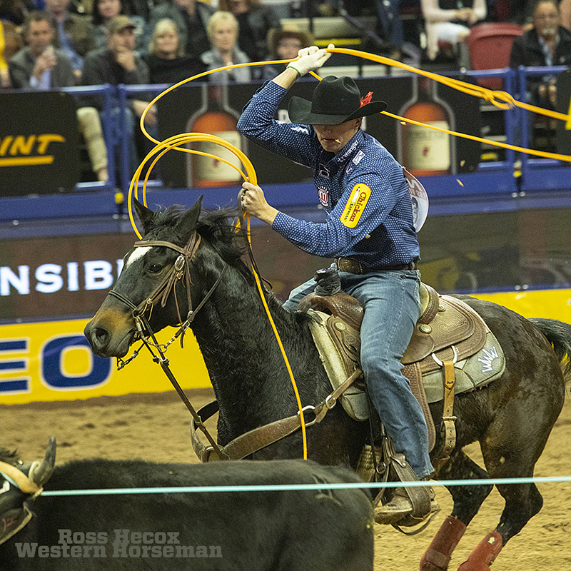 Wesley Thorp competes in team roping at the NFR in Las Vegas.