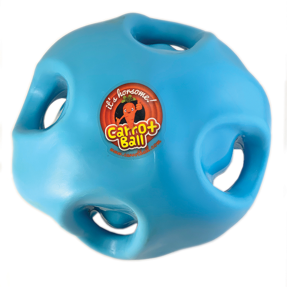 Stick carrots in the horse toy Carrot Ball to keep horses happy and reduce unwanted behaviors.