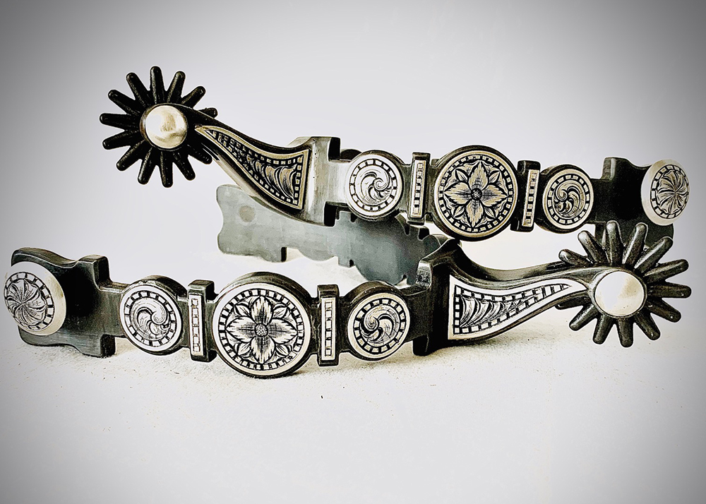 In addition to bits, Jon Peters creates ornate spurs.