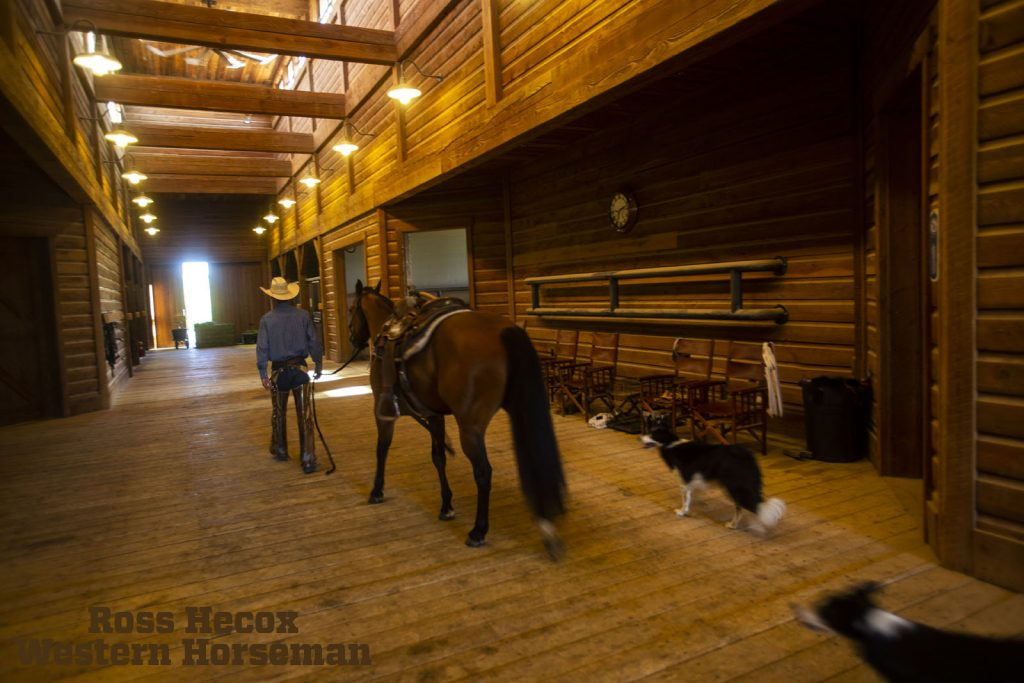 Inside the barn at Wagonhound Land and Livestock in Wyoming combines beauty and function.