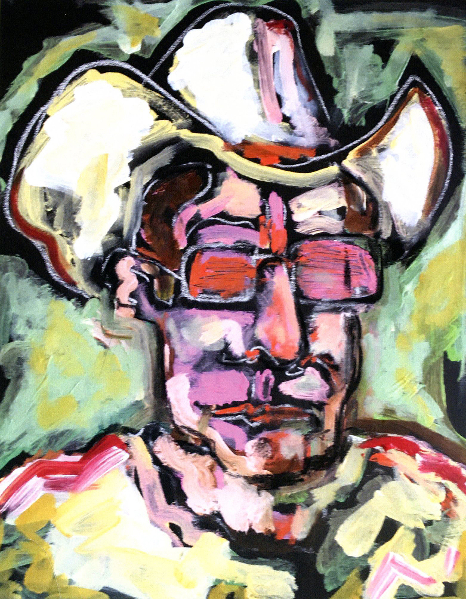 A self portrait painting by Tom Russell.