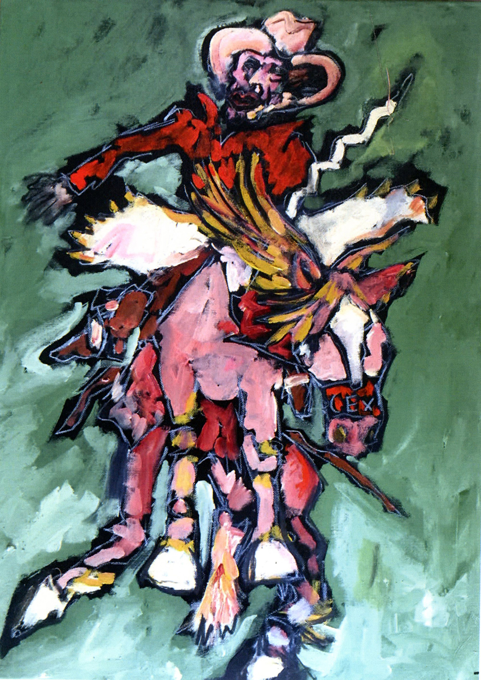 A painting of a bucking bronc by singer Tom Russell.