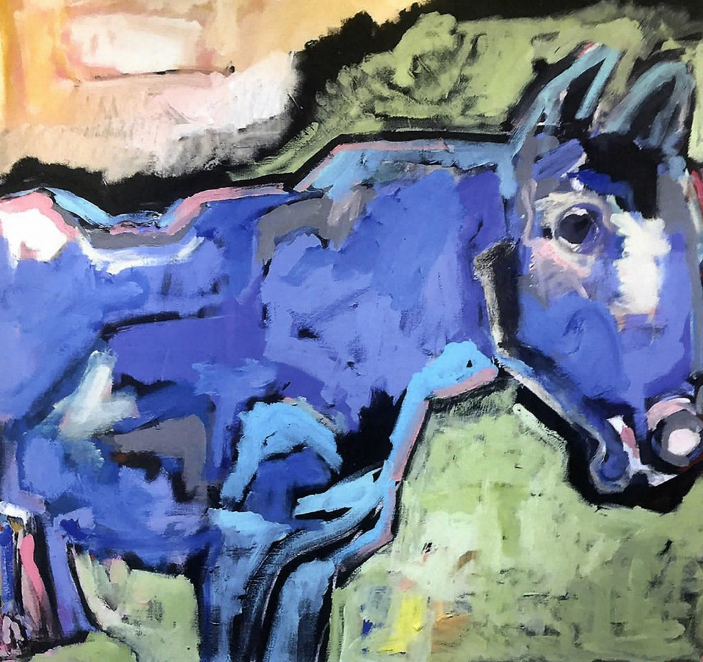 A painting of a blue horse by Tom Russell.