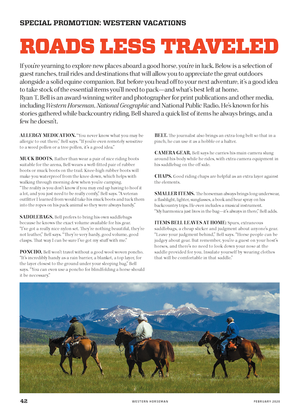 Western Horseman magazine Western Vacation special ad section first page