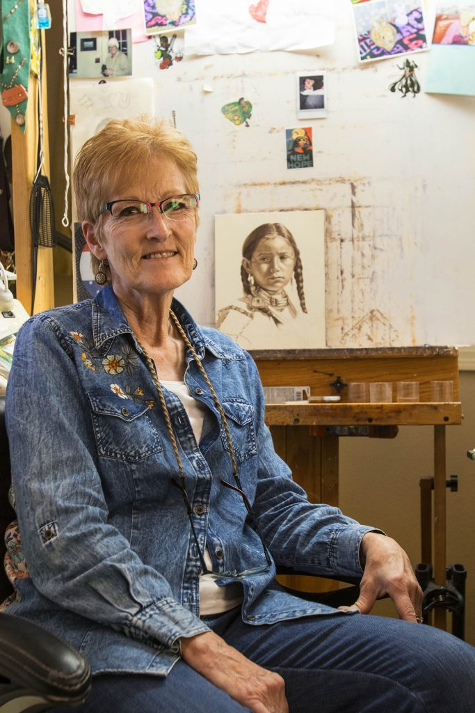 Ann Hanson paints from her studio in Shell, Wyoming.