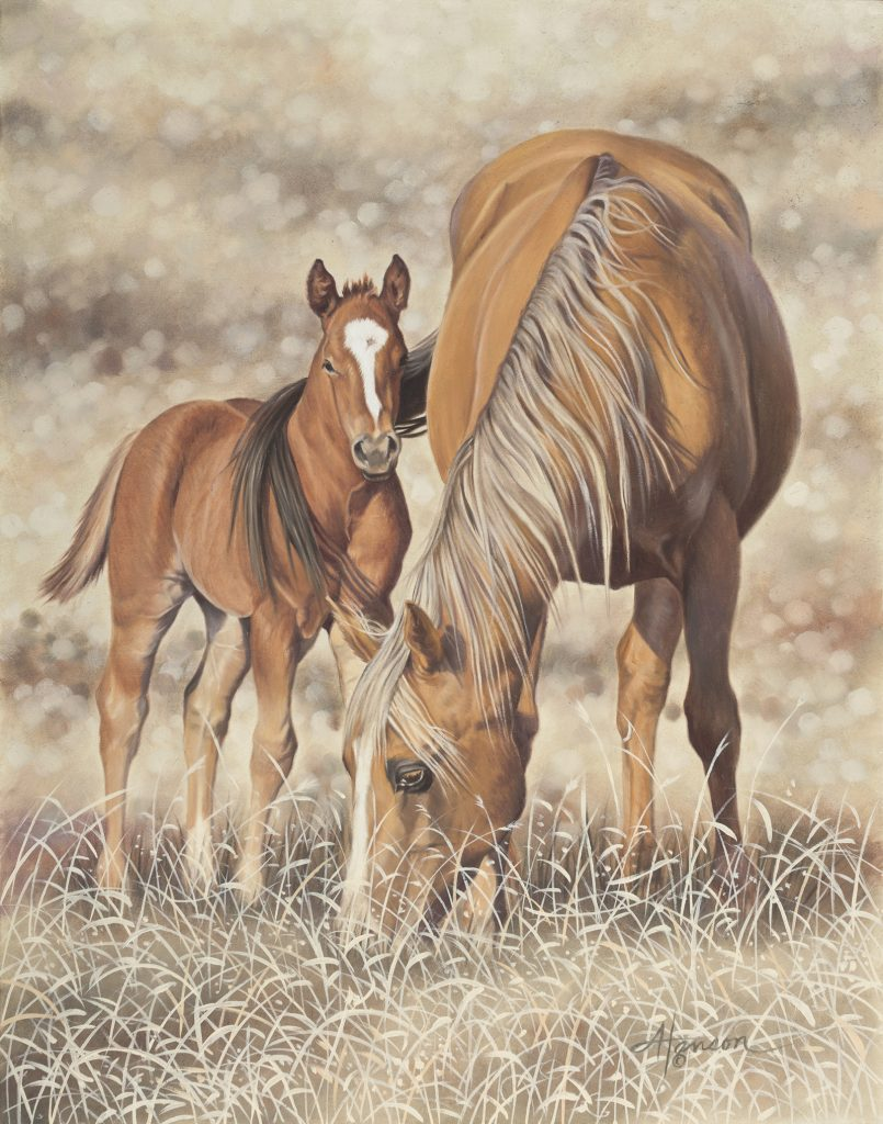 Mama's Girl is a painting by Ann Hanson that appeared on Western Horseman's cover.