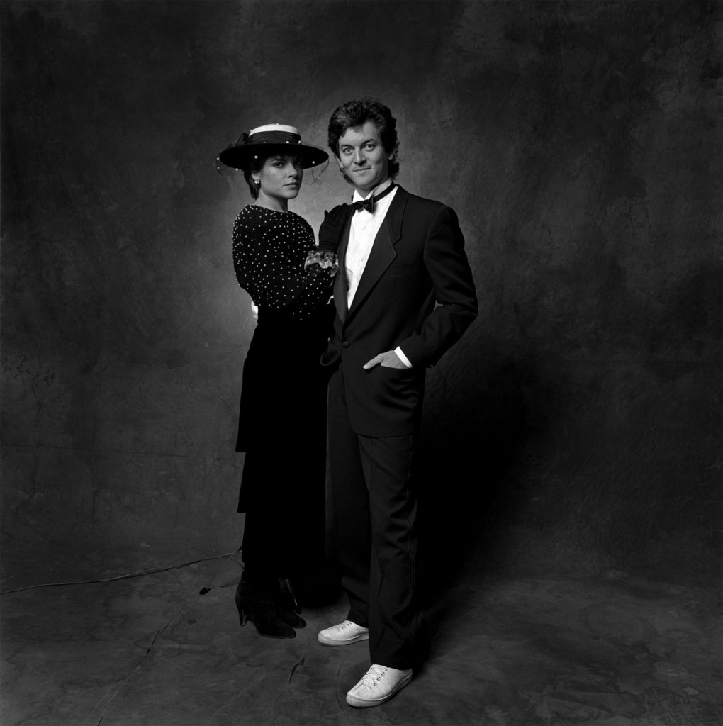 Rosie Cash and then-husband Rodney Crowell post for Jim McGuire