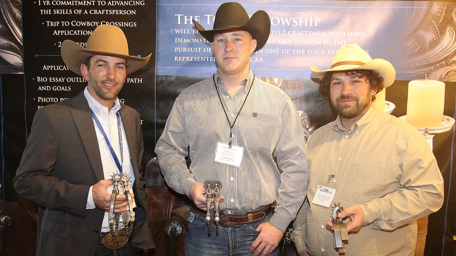 Spur makers show the spurs they made for the TCAA Emerging Artists Competition.Curtis Hill (left), Matthew Turner and David Harshberger competed in this year's Traditional Cowboy Arts Association Emerging Artists Competition.