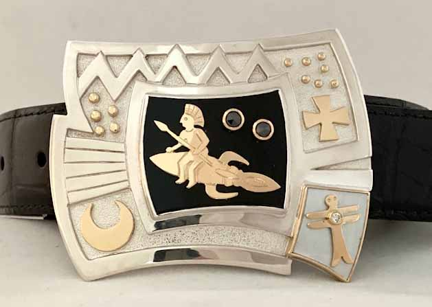 Silversmith Victoria Adams creates cowboy crafts like this unique belt buckle.