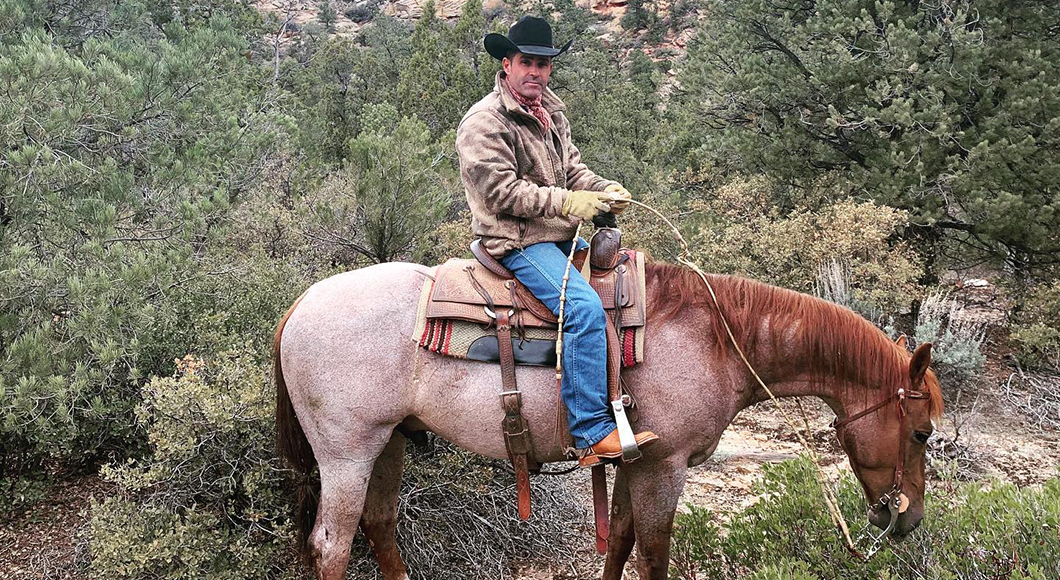 Brady Weavers puts his show horses to work branding calves.