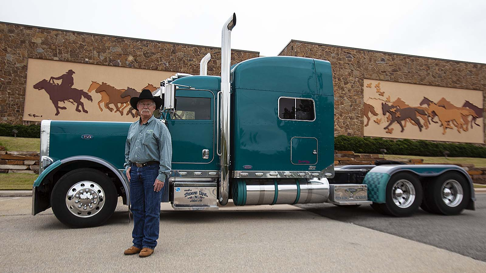 Rick Linneman visits the National Cowboy & Western Heritage Center with his semi.