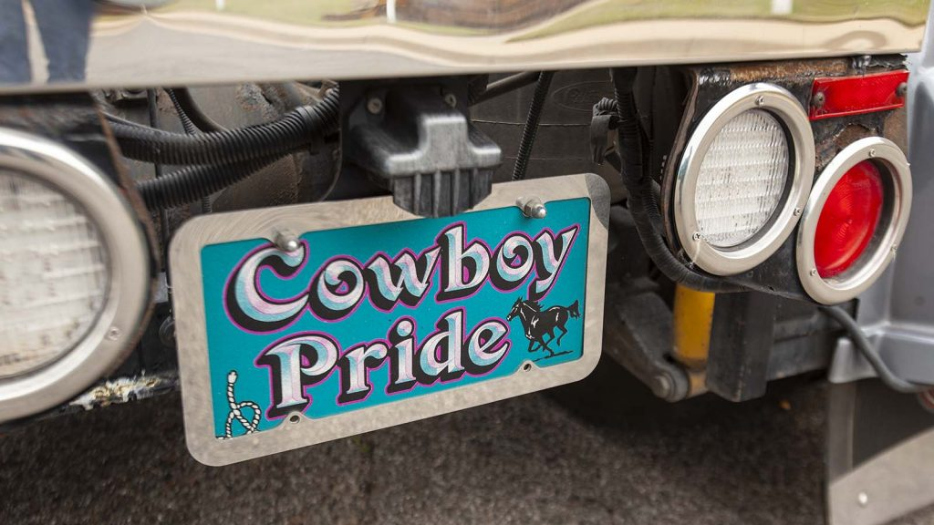 "Rick Linneman named his Peterbilt 379 truck after the Ian Tyson song ""Cowboy Pride."""