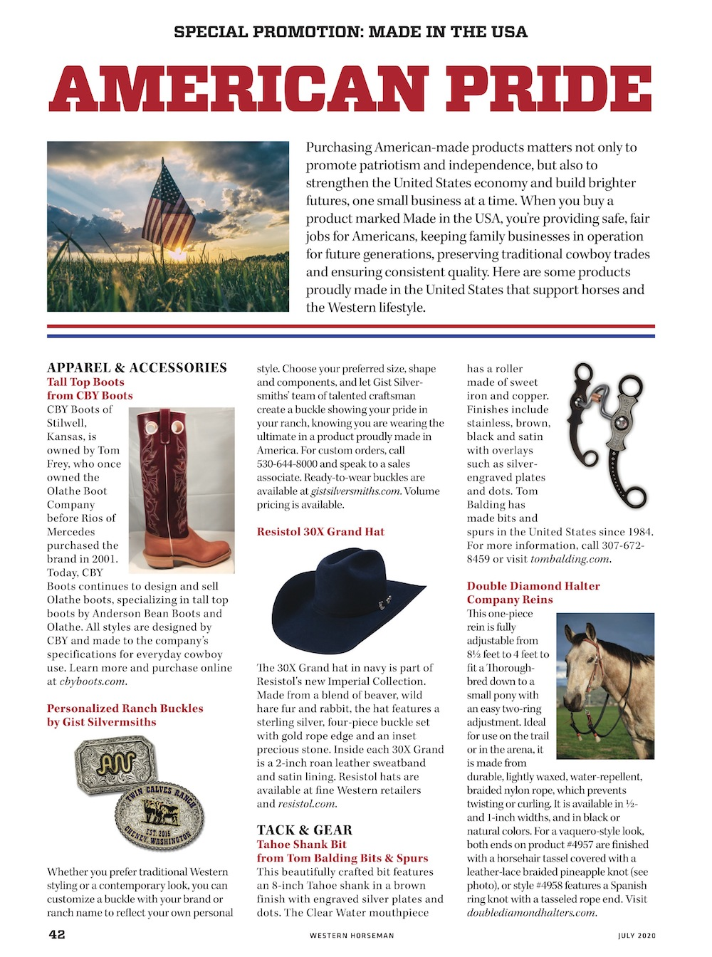 made in the usa special promotion section from western horseman magazine page 1
