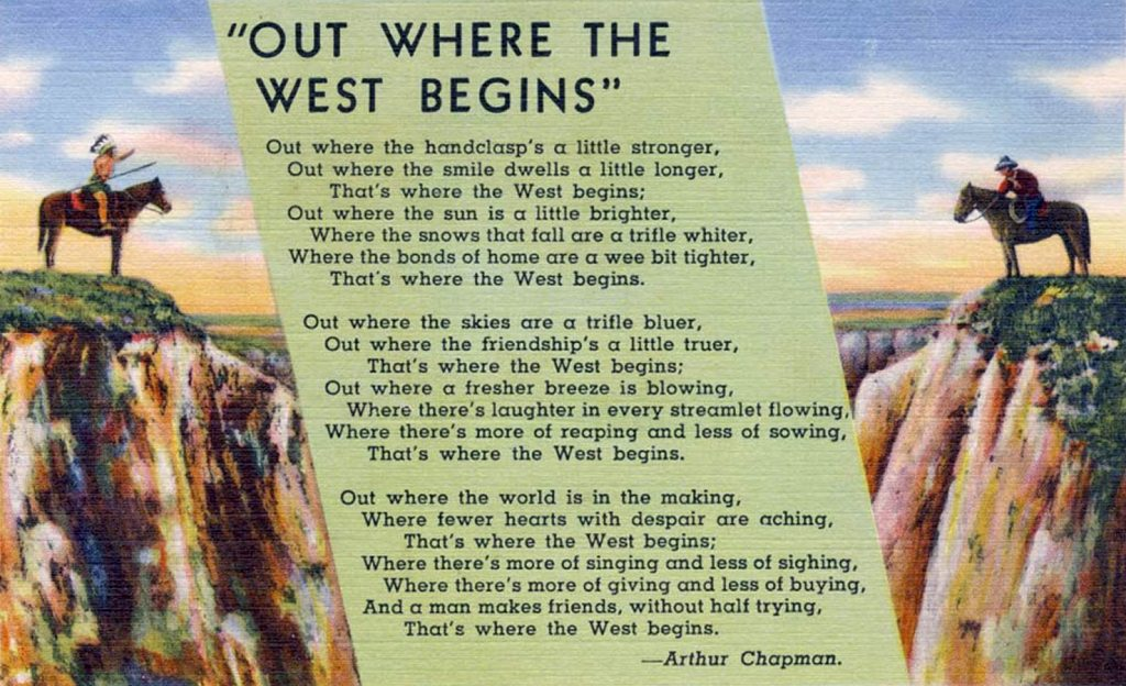 The poem Out Where the West Begins was printed on postcards.