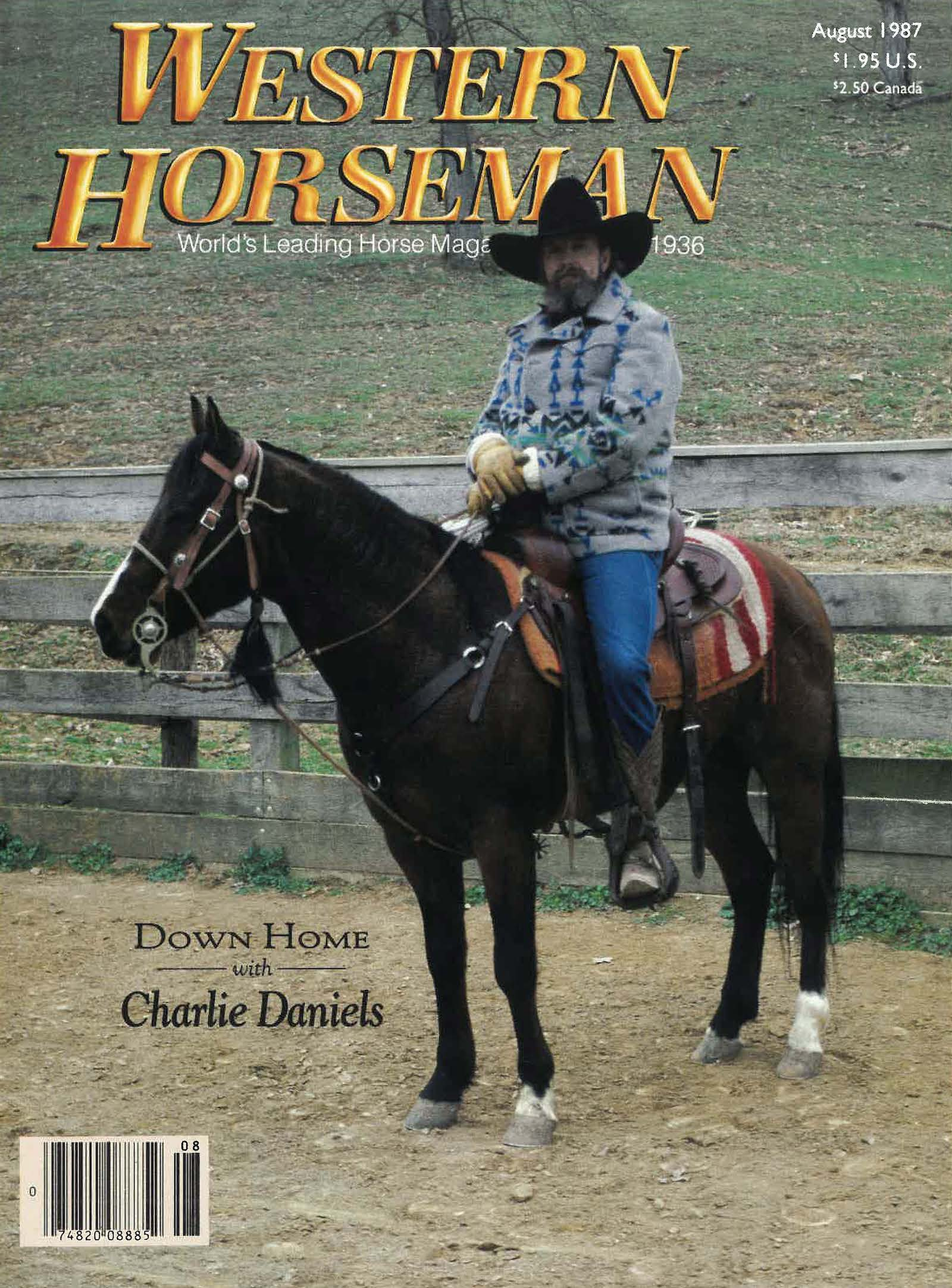 Charlie Daniels on the cover of Western Horseman magazine August 1987