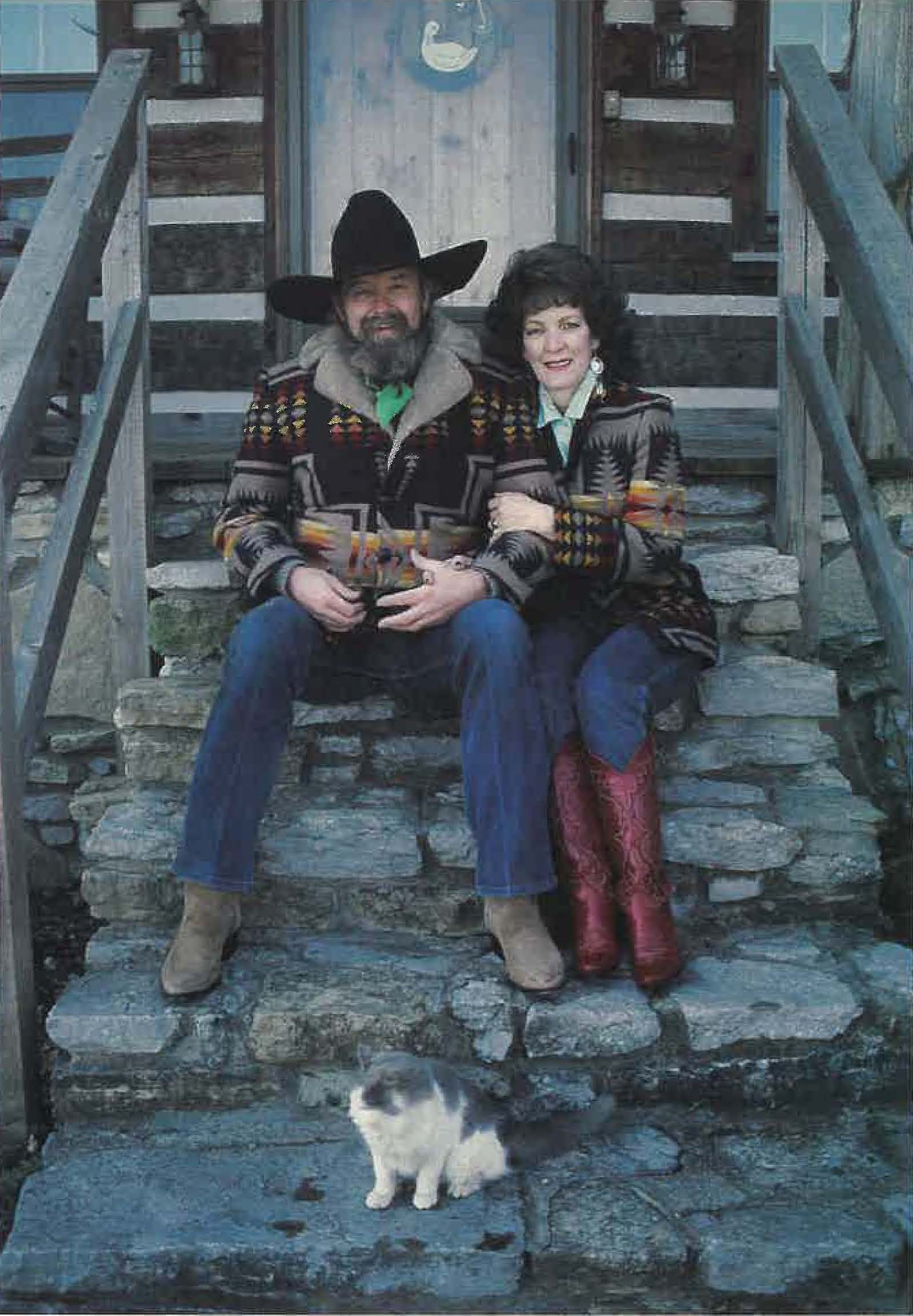 Charlie Daniels and wife Hazel sitting on the front porch of their Tennessee home