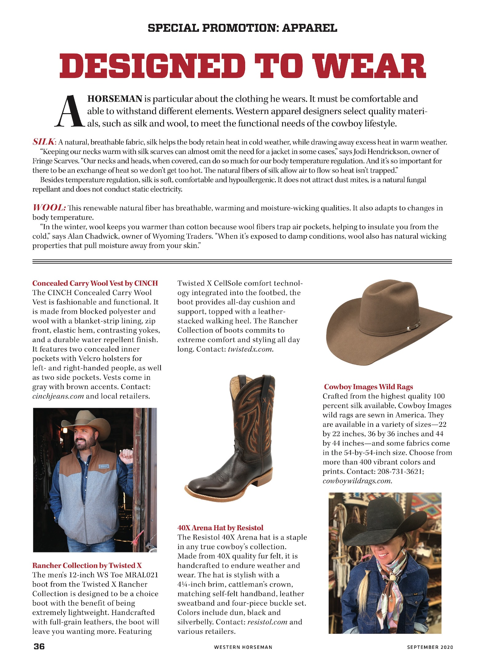 Western Apparel special advertising section page 1 from Western Horseman magazine September 2020