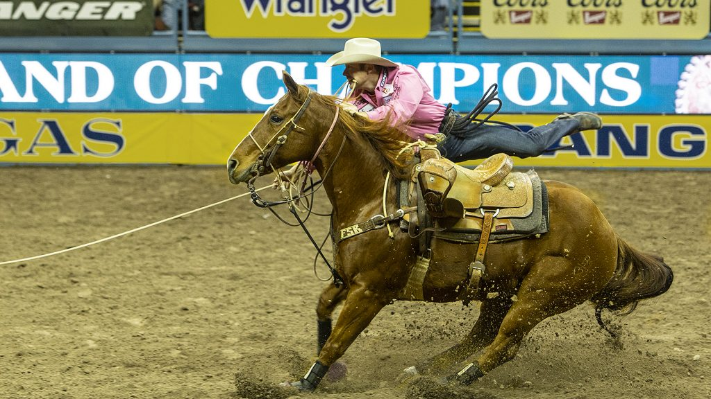 Tyson Durfey competes in tie-down roping at the NFR.