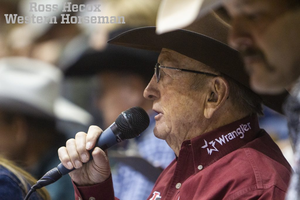 Hadley Barrett announces at the WRCA ranch rodeo