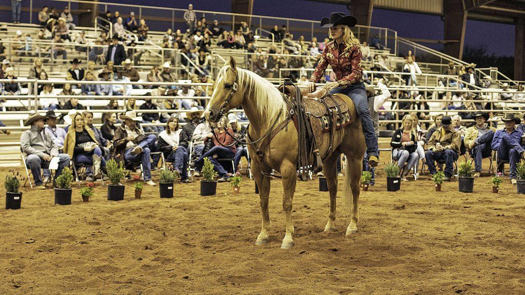 Sarah McKibben shows off her sale horse.