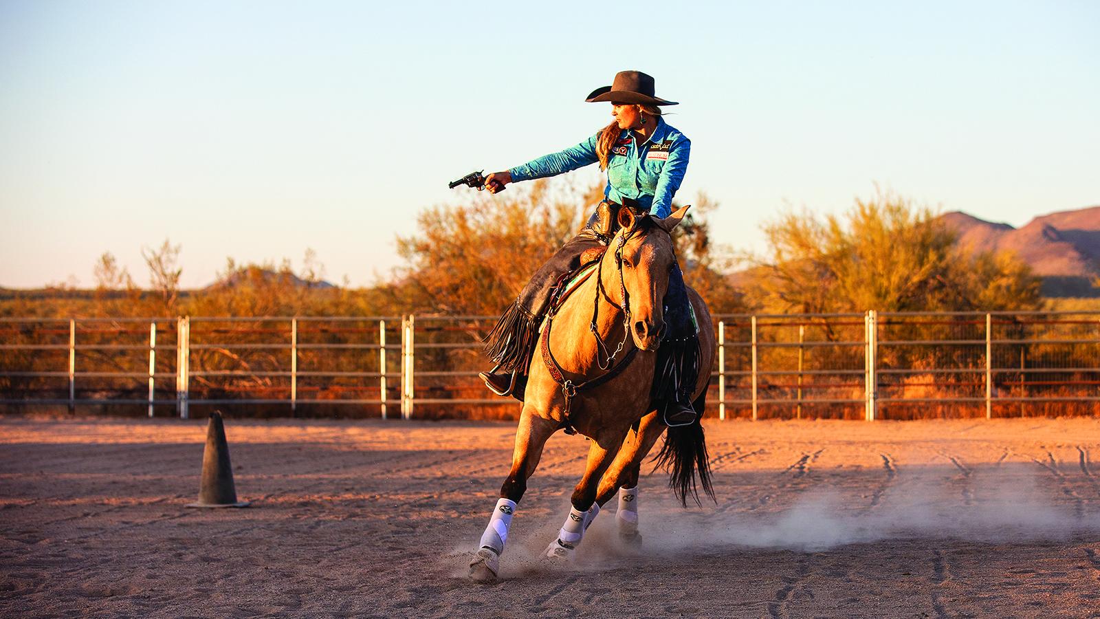 Kenda Lenseigne trains mounted shooting horses