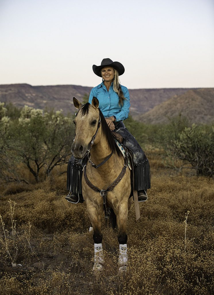 Kenda Lenseigne, a mounted shooting clinician in Arizona, used equine earplugs.