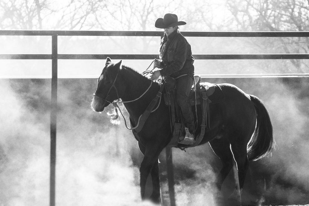 Horseman riding in the dust