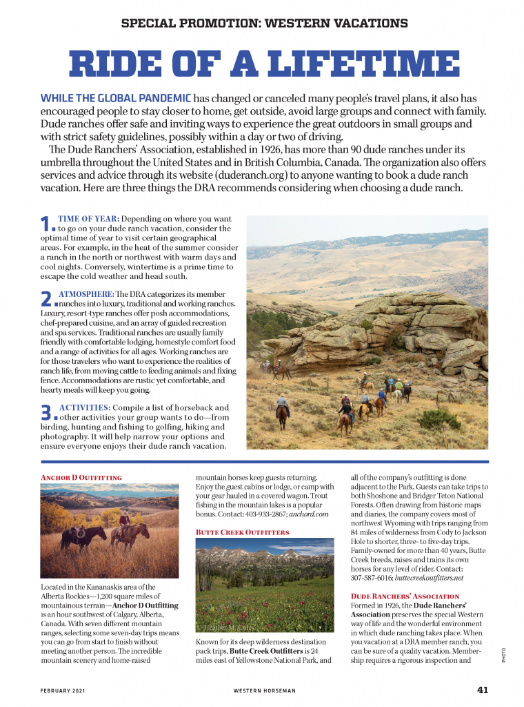 Page 1 of the Dude Ranch vacations special promotion section in Western Horseman magazine