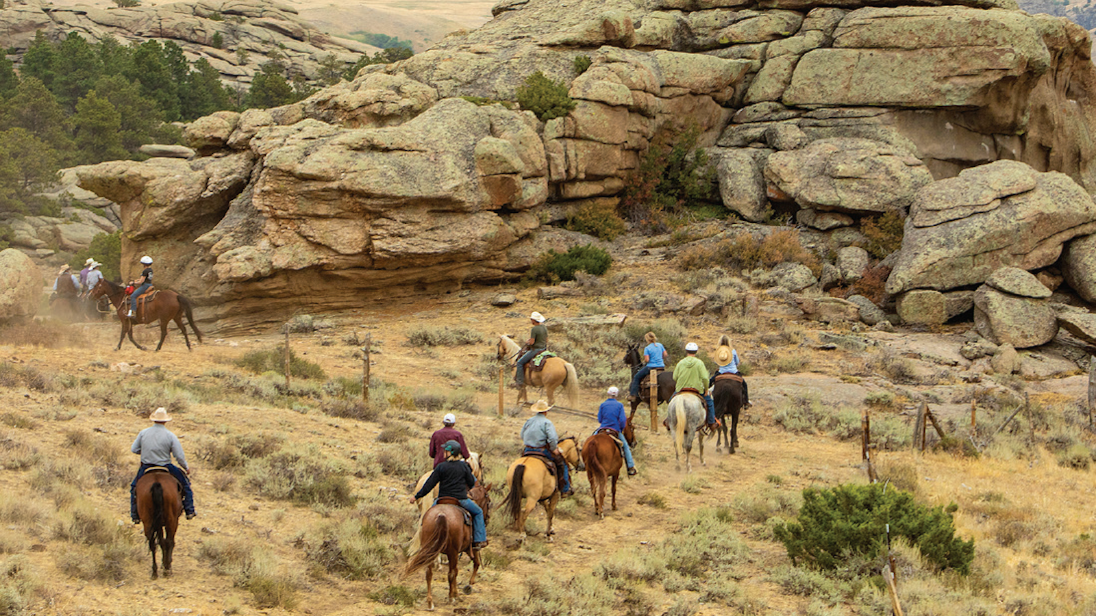 trail riders taking a dude ranch vacation