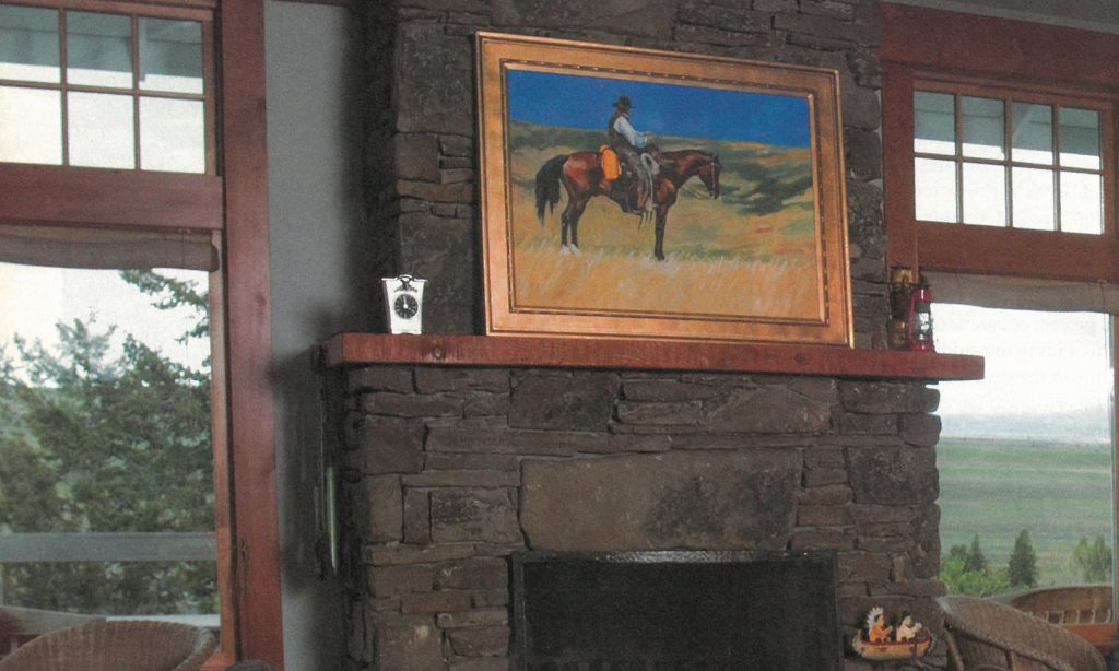 Lyn St. Clair painting above fireplace