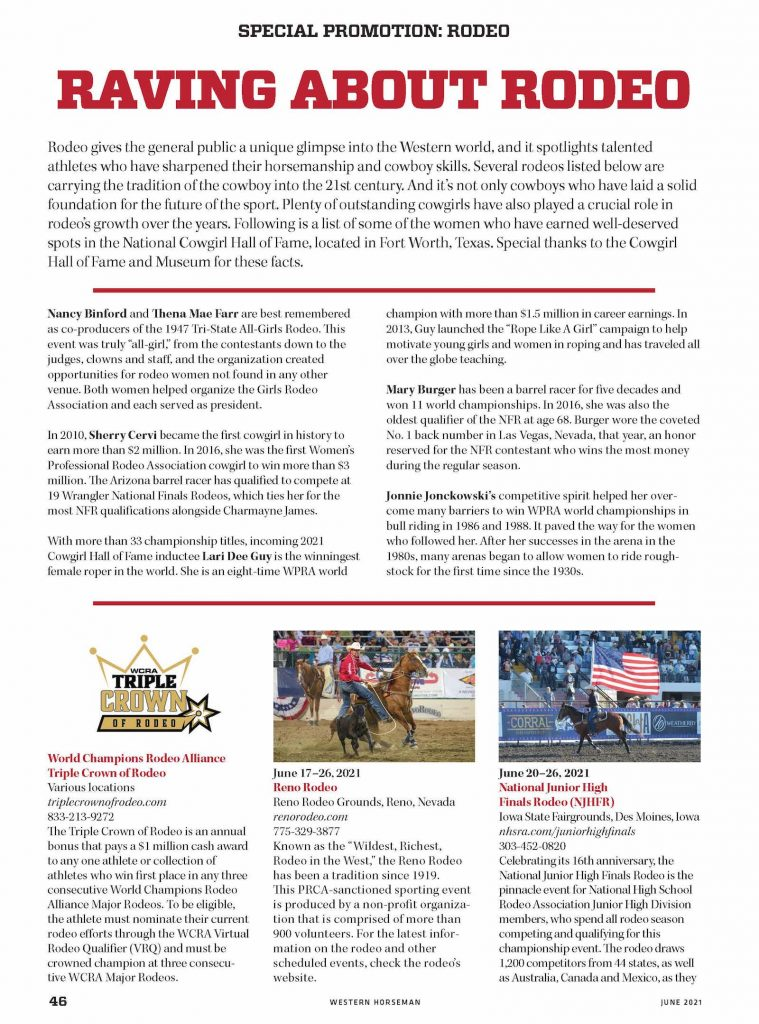 Read about the Special Promotion Rodeo section.
