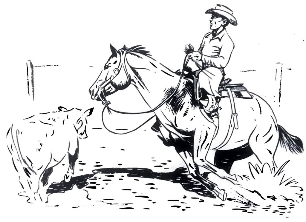 A Monte Foreman illustration of a rider hanging with the cutting horse as he turns.