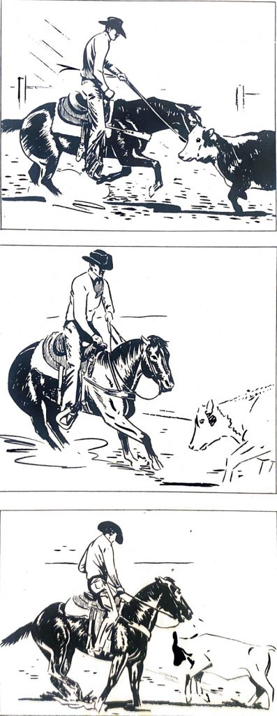 Monte Foreman's illustration of an off-balance rider on a cutting horse.