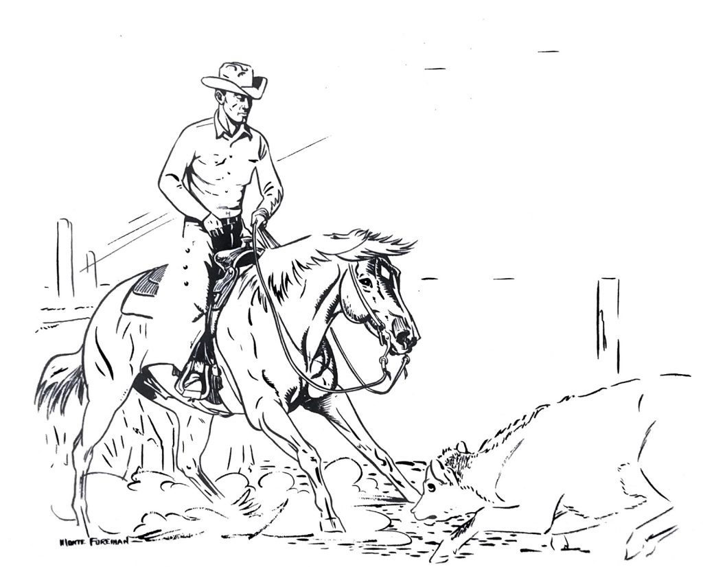 Rider and horse cutting a cow.