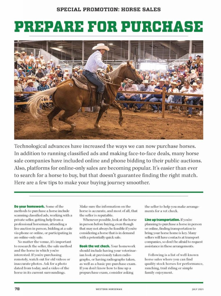 Prepare for your next horse sale.