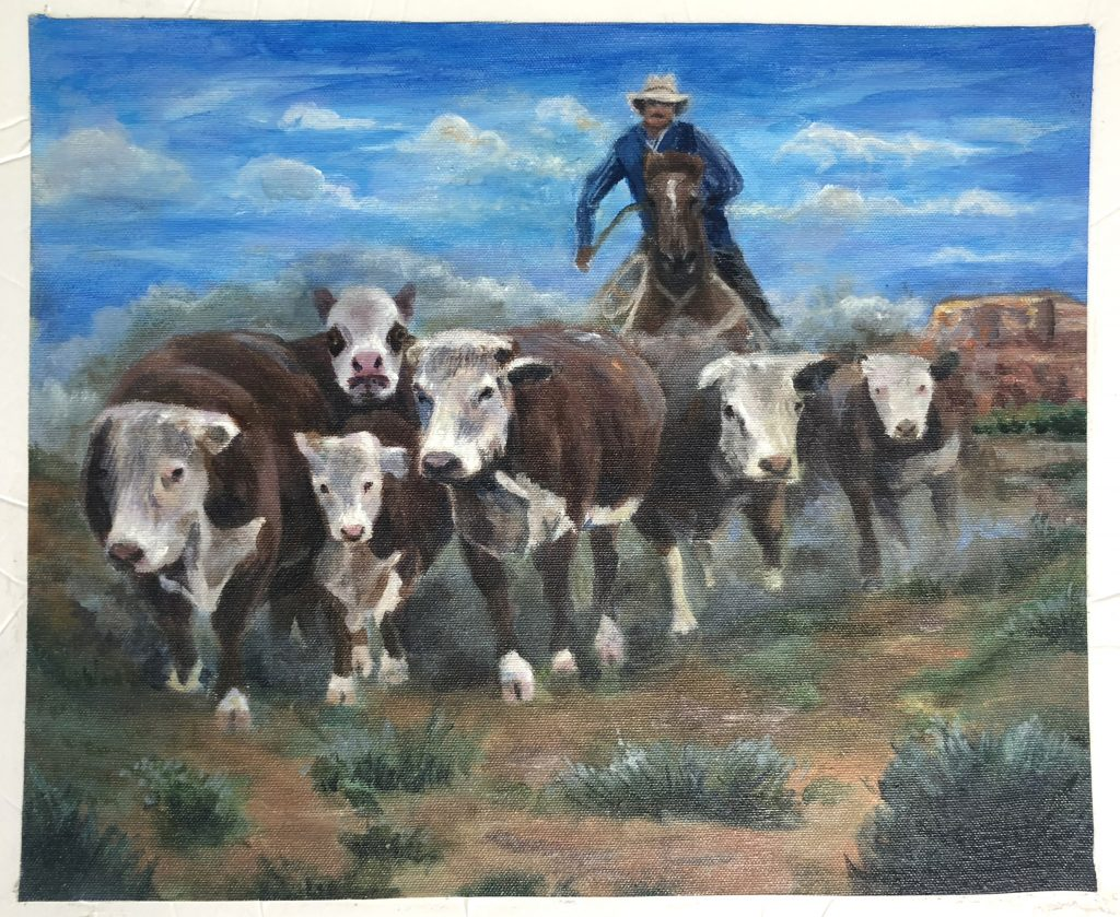 Herding Cows, by Lillian McNeil, in the Youth Art Contest