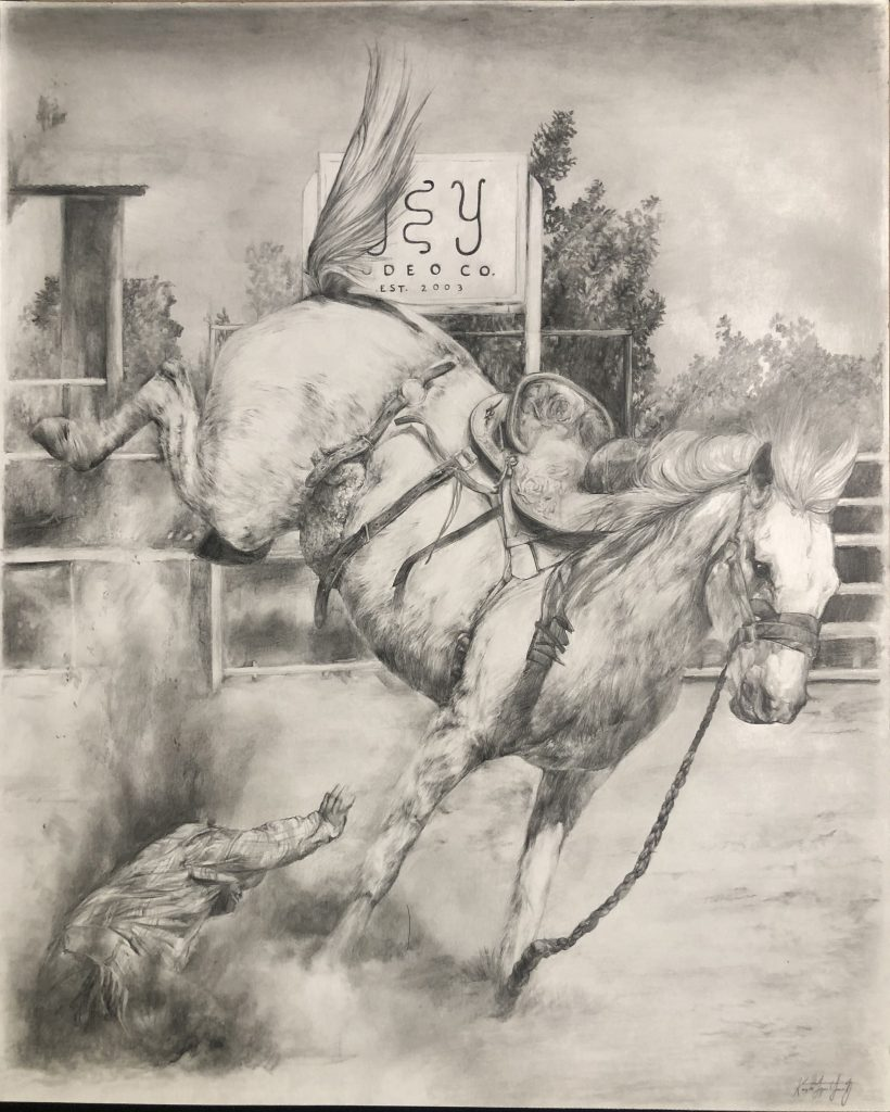 The Buckle He Never Won, by Kayte Yanez, won reserve in the 14-18 Western Horseman Youth Art Contest