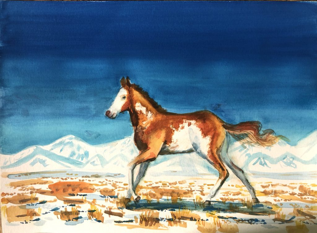 Happy, Free Western Horse won the 8 and under age division in the Western Horseman Youth Art Contest