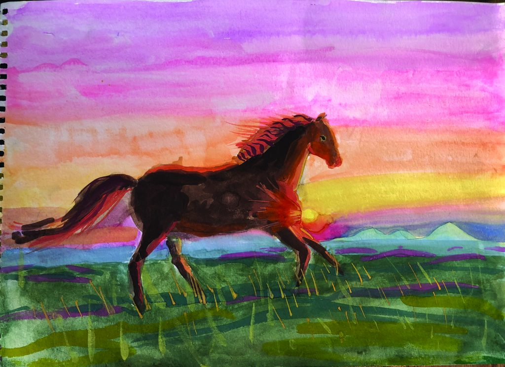 A Breath of Freedom, by Alice Chernyy, won reserve in the 8 and under division of the Western Horseman Youth Art Contest