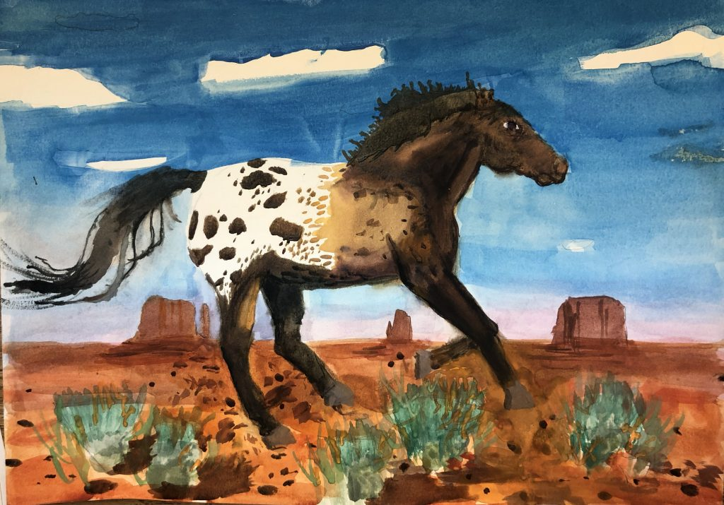 Dotted Dark Horse, by Baiaman Kozhobekov