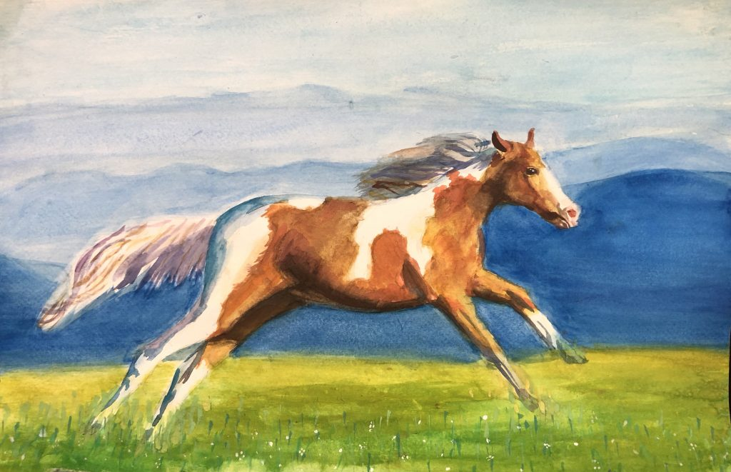 Running to Freedom won the 9-13 age division in the Western Horseman Youth Art Contest