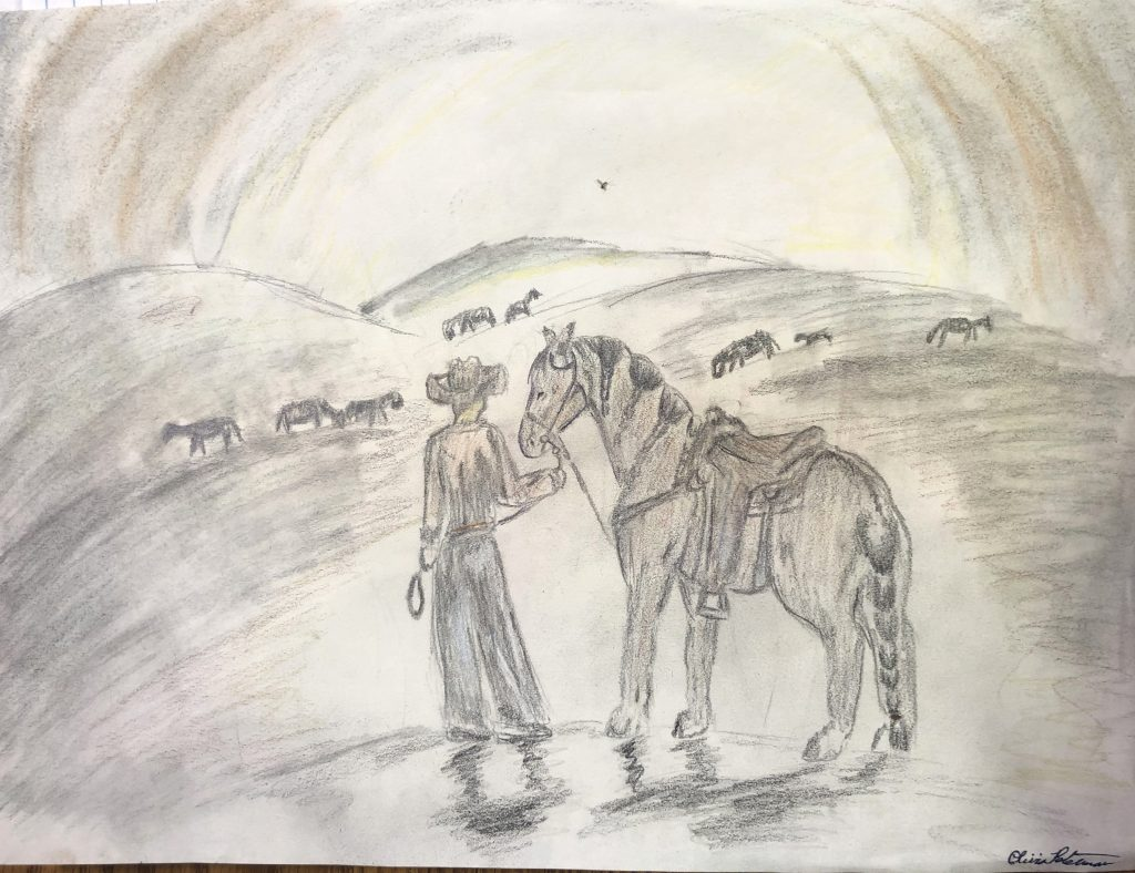 No Title, by Olivia Peterman, in the Western Horseman Youth Art Contest